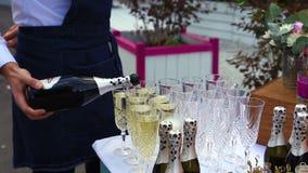 Kelnera dolewania wino w szkła przy partyjnym zakończeniem zbiory