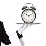 Kelnera mienia srebra taca z zegarem Zdjęcia Stock