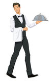 Kelnera przewożenie Domed półmisek - ilustracja royalty ilustracja