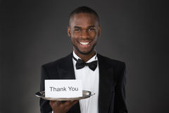Kelnera seans Dziękuje Ciebie Karcianego zdjęcie stock