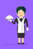 Kelnerka w czarnej sukni Zdjęcie Stock