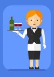 Kelnerka z butelką na tacy Obrazy Royalty Free