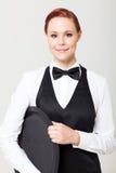 Kelnerka z pustą tacą Obraz Stock
