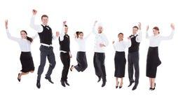 Kelners en serveersters het springen Stock Afbeeldingen