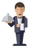 Kelnerskarakter met het dienen van schotel Stock Foto