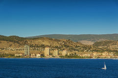 Kelowna BC - Okanagan Lake. A view of Kelowna British Columbia Canada and Okanagan Lake from across the lake Stock Photo