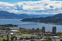 Kelowna BC - Okanagan Lake. A view of Kelowna British Columbia and Okanagan Lake from Knox Mountain Royalty Free Stock Photo
