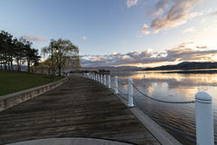 Kelowna Boardwalk at sunset Royalty Free Stock Photo