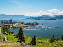 Kelowna, British Columbia, Canada, on the Okanagan lake, city view from mountain overlook royalty free stock photography