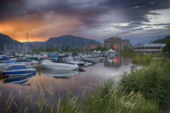 Kelowna Marina. Yacht club downtown kelowna by the Okanagan Lake at sunset Stock Photos
