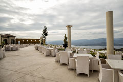 Kelowna mountain park. British Columbia Canada. Outdoor restaurant, whit nice white tables Stock Images