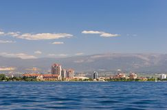 Kelowna waterfront. Buildings and new construction line the shore in Kelowna, British Columbia Stock Image
