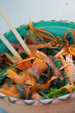 Kelp noodles salad with carrot and cucumber, soy sauce ans wasab Royalty Free Stock Image