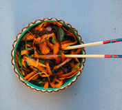 Kelp noodles salad with carrot and cucumber, soy sauce ans wasab Royalty Free Stock Images