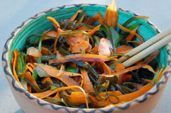 Kelp noodles salad with carrot and cucumber, soy sauce ans wasab Stock Photos