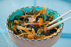 Kelp noodles salad with carrot and cucumber, soy sauce ans wasab Stock Image