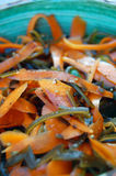 Kelp noodles salad with carrot and cucumber, soy sauce ans wasab Royalty Free Stock Photography