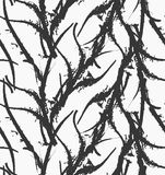 Kelp seaweed black abstract rough. Hand drawn with ink seamless background.Modern hipster style design Royalty Free Stock Image