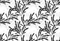 Kelp seaweed black on black texture. Hand drawn with ink seamless background.Modern hipster style design Royalty Free Stock Images