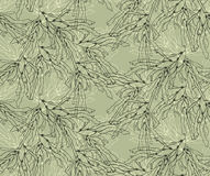 Kelp seaweed green with overlay. Hand drawn with ink seamless background.Modern hipster style design Royalty Free Stock Images