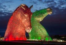 Kelpies illuminated Royalty Free Stock Image