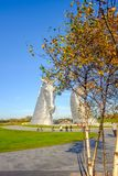 The Kelpies sculpture by Andy Scott, Falkirk, Scotland. Royalty Free Stock Image