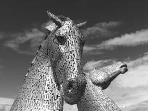 Kelpiesna nära Falkirk, Skottland Arkivbild