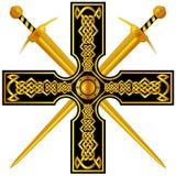 Keltisch kruis met gouden zwaarden Royalty-vrije Stock Afbeelding
