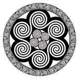 Keltisch ontwerp - Spiraalvormige Keltische Zon stock illustratie