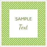 Keltische Art knotete Rahmen mit Raum für Ihren Text, Grün auf Weiß, Vektorillustration Stockbild