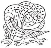 Keltische Auslegung mit geknoteten Zeilen eines Vogels Lizenzfreie Stockfotografie