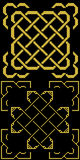 Keltische Knopen met grenzen oud goud op zwarte Royalty-vrije Stock Afbeeldingen