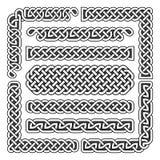 Keltische Knoten vector mittelalterliche nahtlose Grenzen, Muster und Verzierungsecken Musterbürstensatz Lizenzfreie Stockfotografie