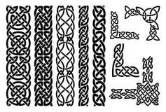 Keltische patronen en Keltische ornamenthoeken Stock Afbeelding
