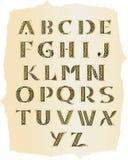 Keltisches Alphabet am alten Papier Stockfoto