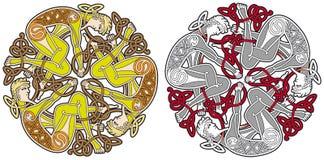 Keltisches Auslegungelement mit Vögeln und Tieren Stockfoto