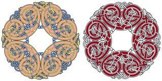 Keltisches Auslegungelement mit Vögeln und Tieren Stockbilder