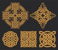 Keltisches Kreuz des Vektors und Knotensatz Ethnische Verzierung Geometrisches DES Lizenzfreies Stockbild
