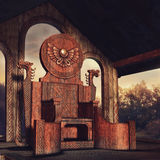 Keltisk biskopsstol för fantasi Arkivbilder