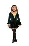 Keltisk dansare i grön dräkt Royaltyfri Bild