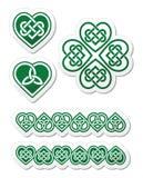 Keltisk grön hjärtafnuren - symboluppsättning Royaltyfria Bilder
