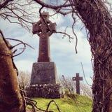 Keltiskt kors i irländsk kyrkogård Royaltyfria Bilder