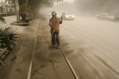 THE KELUD ERUPTION EFFECT. The Slamet Riyadi Road of Surakarta which was covered by ash fall from nearby Kelud Volcano. Kelud erupted on February 13, 2014. The royalty free stock photo