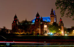 Kelvingrove Museum and Gallery illuminated at night. Kelvingrove Museum and Gallery was opened in 1901 for the Glasgow International Exhibition Stock Images