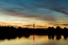 KEMA toren与日落和蓝天 免版税库存图片