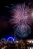 Kemah Beach Fireworks Stock Images