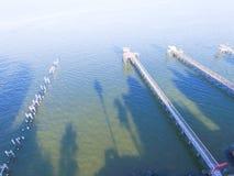 Kemah de antenne van visserijpijlers Stock Afbeeldingen