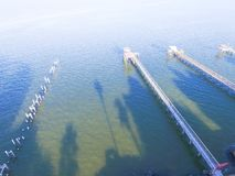 Kemah-Fischenpiers von der Luft Stockbilder