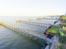 Kemah-Fischenpiers von der Luft Lizenzfreie Stockfotos