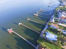 Kemah-Fischenpiers von der Luft Lizenzfreie Stockbilder